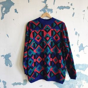 Vintage Alfred Dunner Geometric Oversized Sweater